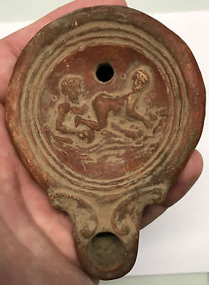 5AD Authentic Ancient Roman MAN & WOMAN EMBRACING Terracotta Oil Lamp i66817