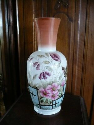 Antique Hand Painted Milk Glass Pink  Floral &  Butterfly Large Mantel Vase