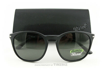 New Persol Sunglasses PO3007S Black Gray Polarized 9000/58 Authentic