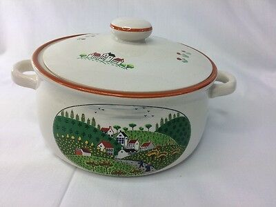 2 Pc. Newcor Country Village Covered Large  Casserole, Casserole Dish