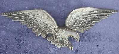 Vintage Large Federal Style Eagle Wall Hanging Brass Cast Metal