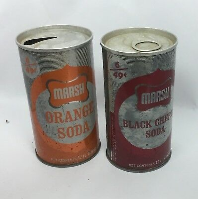 Pair of Marsh Soda Cans, Orange & Black Cherry, Pull Tabs, 6 For 49 Cents