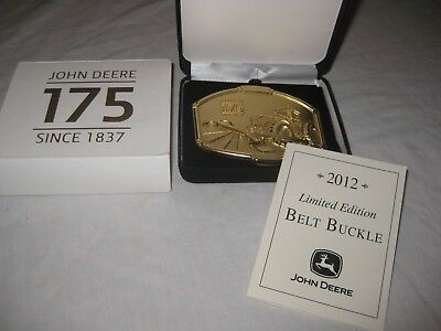 JOHN DEERE BELT BUCKLE 175th ANNIVERSARY GOLD PLATED 2012 7280R TRACTOR & PLOW