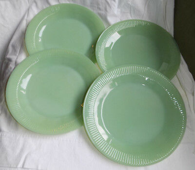 "4 Vintage Fire King Green Jadite Jane Ray Oven Glass 9"" Dinner Plates Jadeite"
