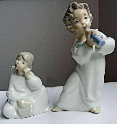 1969 Lladro Figurine #4540 Angel With Flute & Sitting Angel