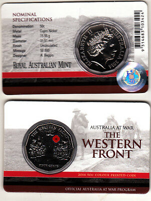 Australia 2014. Australia at War Western Front Coloured 50 cent coin in RAM card