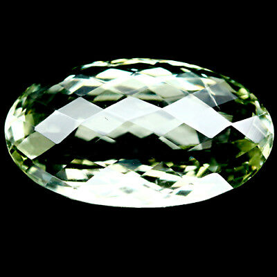27.64 Ct Aaa Natural Green Uruguay Amethyst Oval Facet With Checker Board Table