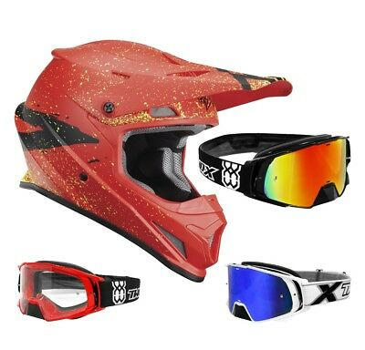 Thor Sector Hype Crosshelm Motocross Helm rot schwarz TWO-X Rocket MX Brille