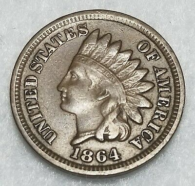 1864 Indian Head Cent Penny with  F+ Details