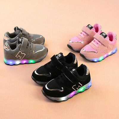 Kids Toddler Baby Boy Girl Breathable Casual Shoes LED Luminous Sneaker Trainers