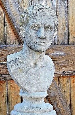 Antique ancient Roman bust carved stone 19th century original patina 1800's man