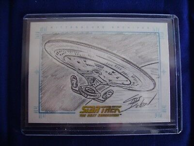 Star Trek TNG Quotable Sketch Card By Chris Bolson Enterprise
