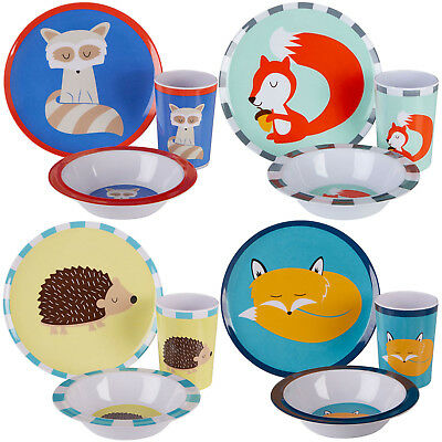 3 Piece Childrens Dinner Set Kids Plastic Dinnerware Plates Bowls Tumblers Cups