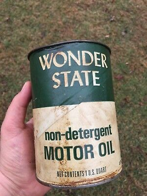 Original Wonder State Motor Oil Composite Can 1 Qt~~Gas & Oil Advertising~~empty