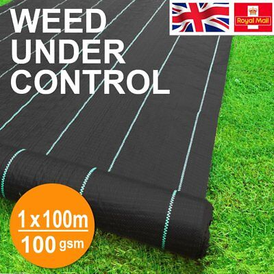 Garden Weed Mat Weed Control Fabric Ground Cover Membrane 100gsm 1x 100m