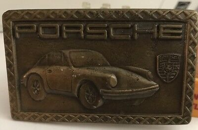 PORSCHE 911 SOLID BRASS CAR BELT BUCKLE  Collectible Old Man Cave EUC