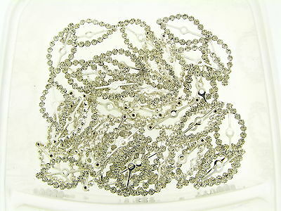 NOS Silver Plate Clear Crystal Prong Fancy Deco Marquise Jewel Findings Lot