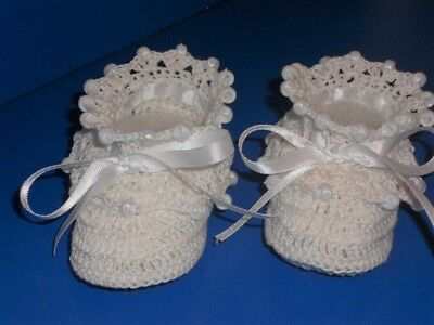 Crochet Christening Baby Infant Girl Booties Shoes White