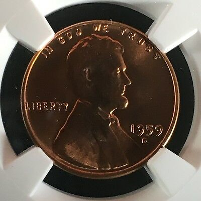 1959-D 1C RD Lincoln Memorial One Cent NGC MS68RD      4230527-001c
