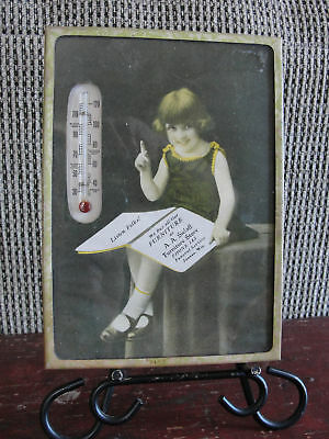 original portrait vintage Thermometer, old,A. A .Sielaff Furniture, Juneau, Wis