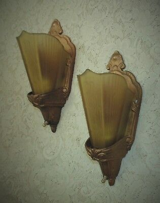 Pair of Art Deco Wall Sconces Lamps w/ Slip Glass Shades