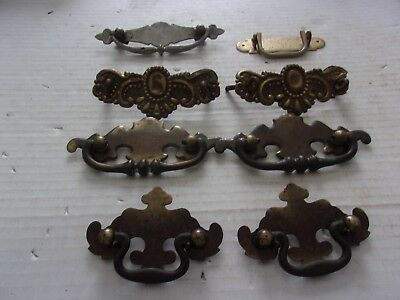 Antique Assorted Lot of Eight ( 8 ) Vintage Brass Drawer Pulls