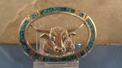 """Bull Inside a Ring with Blue Stone Chips it came of of Something 3x2"""" Art"""