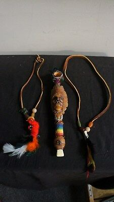Souvenir Ceramic Peace Pipe W Chiefs Face Two Leather Hanging Beads W Feathers