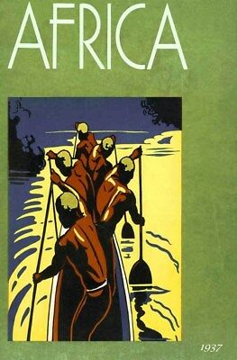 1937 Ethnic African Travel Gold River Canoe Boaters Art Deco Cover Poster 318516