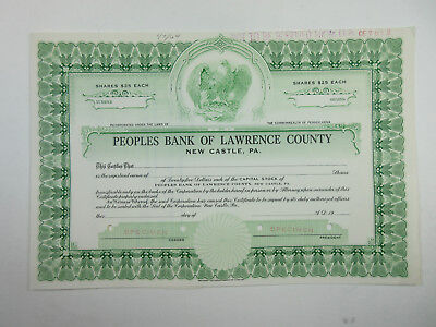 PA. Peoples Bank of Lawrence County 1940-50 Odd Shrs Specimen Stock Certificate