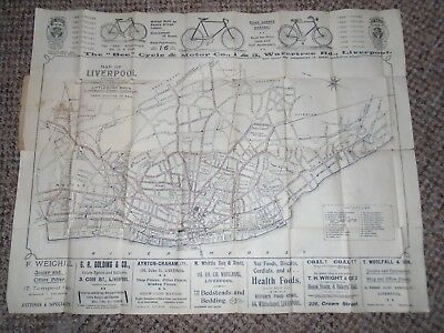 1920s Street And Tram Map Of Liverpool With Index Fold-Out Paper Map With Advert