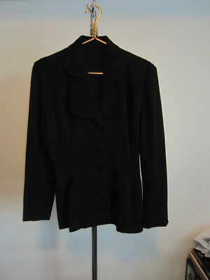 Gorgeous 1920s Black Women's Suit Jacket Beautifully Tailored Wool Coat Fabric S