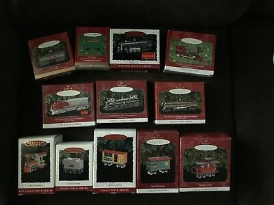 Lot of 12 Hallmark Train Ornaments - Yuletide Central and Lionel Trains