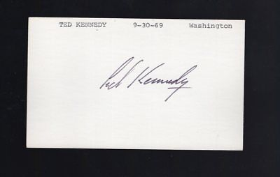 Ted Kennedy  Signed / Autograph index card COA
