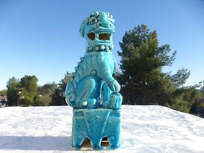 """Vintage Antique Chinese Turquoise Porcelain Foo Dog Statue 6 1/3"""" Great Detail"""