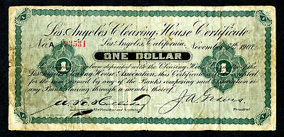 Los Angeles Clearing House Association California 1 Dollar 1907 Scrip Note VG