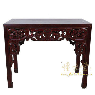 Chinese Antique Massive Carved Beech Wood Dragon Table 16LP63