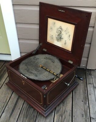 "Antique Dual Comb Mahogany Regina Music Box Plays 15 1/2 "" Discs"