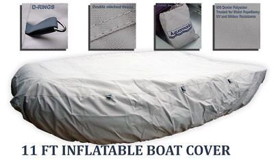 11 ft Inflatable boat cover Dinghy COVER RIB Zodiac Mercury w TIE DOWN D-RINGS