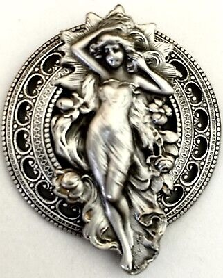 "ART NOUVEAU WOMAN PICTURE BUTTON~Large SILVERED BRASS~Antique & Vintage~2"" INCH"