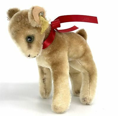 Steiff Zicky Goat Mohair Plush 14cm 5.5in ID Button Tag 1960s missing one horn