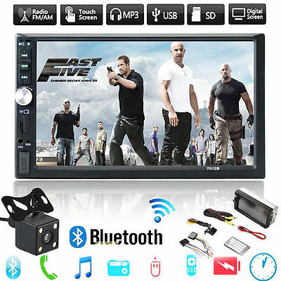 "7"" Double 2DIN Car GPS MP3 Player Bluetooth Touch Screen Stereo Radio HD +Camera"