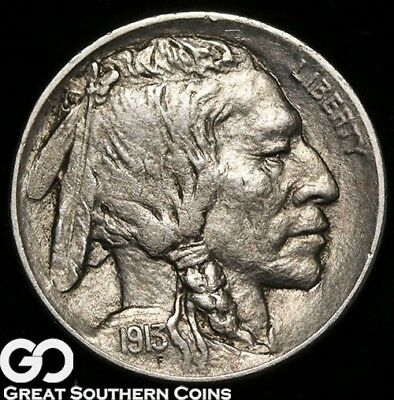1913-D Buffalo Nickel Type 2, Choice AU Better Date Denver Issue!
