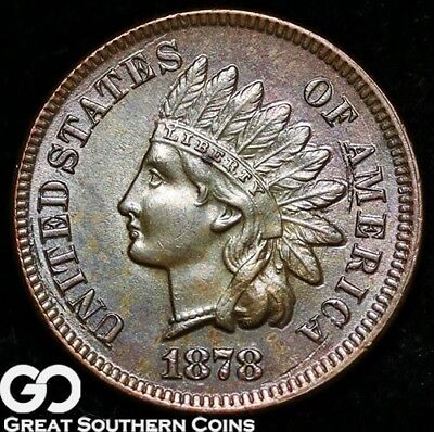 1878 Indian Head Penny, Beautiful Color, Solid Gem BU++ Better Date, Very PQ!