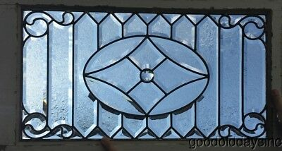 "Antique Beveled Leaded Glass Transom Window 35"" by 20"" Circa 1900"