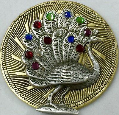 """LARGE VINTAGE JEWELED PEACOCK PICTURE BUTTON ON BRASS~Antique & Vintage~2"""" INCH"""