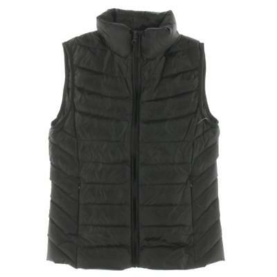Aqua 1148 Womens Black Down Feather Quilted Puffer Vest Outerwear S BHFO