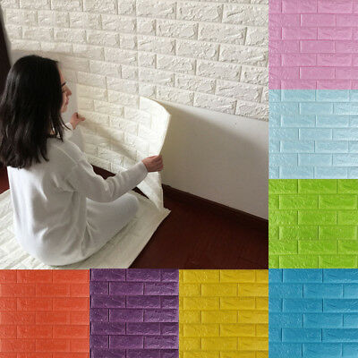 3D PE Foam DIY Wall Stickers Paper Embossed Brick Stone Office Home Room Decor