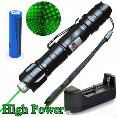 Professional 1MW 532NM High Power Green Laser Pointer Pen+18650 Battery Charger