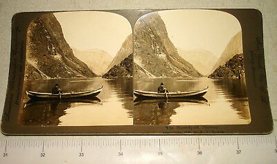 1898 American Stereoscopic Stereoview Card NAEROFJORD NORWAY NR